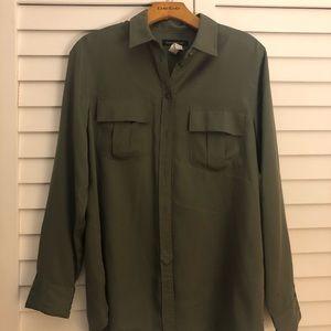 Banana Republic Olive Military Blouse Shirt Top M